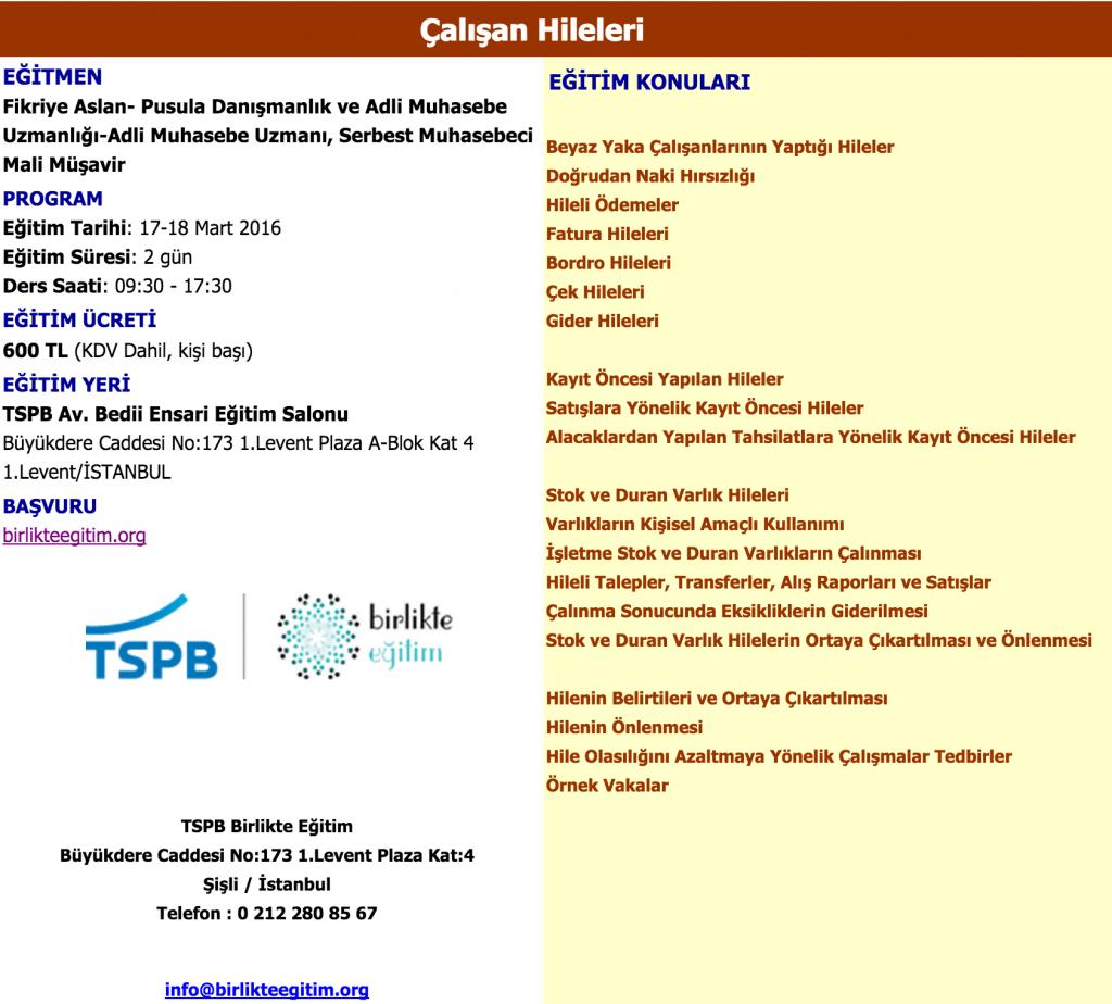 TSPB Birlikte Eğitim Mesleki Gelişim Eğitimleri | Pusula Adli Muhasebe Uzmanlığı